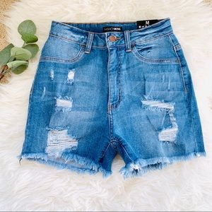 Fashion Nova distressed high waist stretch shorts